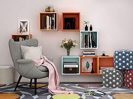 现代墙上装饰品沙发椅模型
