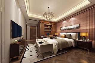 现代古木色卧室渔船壁画3d模型