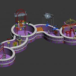 淘气堡水动力儿童电动设施3d模型