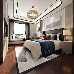 现代卧室大海壁画模型3d模型