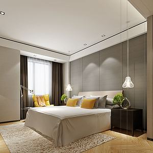 中式简易床卧室模型