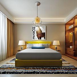 现代简易卧室单匹马壁画模型