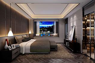 现代海景窗卧室3d模型