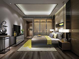 现代卧室推拉式箱包衣柜3d模型