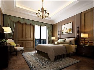 中式复古吊灯壁画卧室3d模型