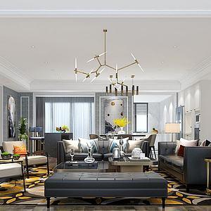 3d现代客厅欧式格调模型