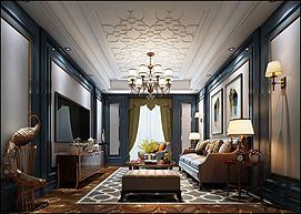 欧式花式吊顶孔雀摆摊客厅模型