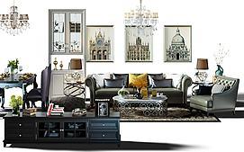 欧式沙发桌椅茶几组合模型