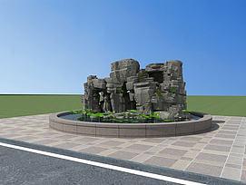 室外园林公园假山景观模型