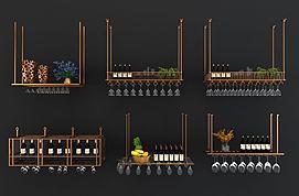 现代金属吊饰红酒架模型