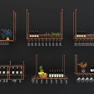 现代金属吊饰红酒架3d模型