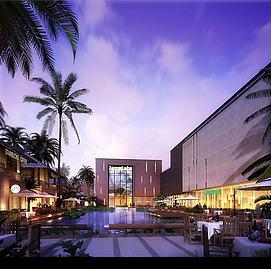室外建筑商业广场精品水池模型