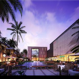 室外建筑商業廣場精品水池模型3d模型