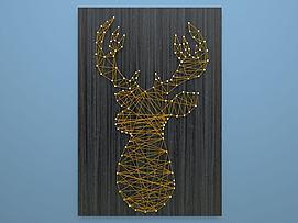 绕线画钉线画墙饰鹿模型