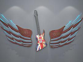 金属翅膀吉他墙饰模型