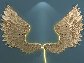 金属翅膀羽毛墙饰挂饰模型