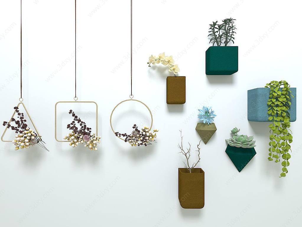 几何金属植物吊饰