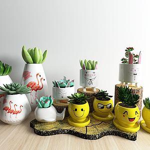多肉绿植可爱花瓶陈设品模型