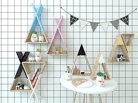三角置物架三角旗组合模型