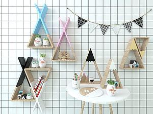 三角置物架三角旗组合3d模型