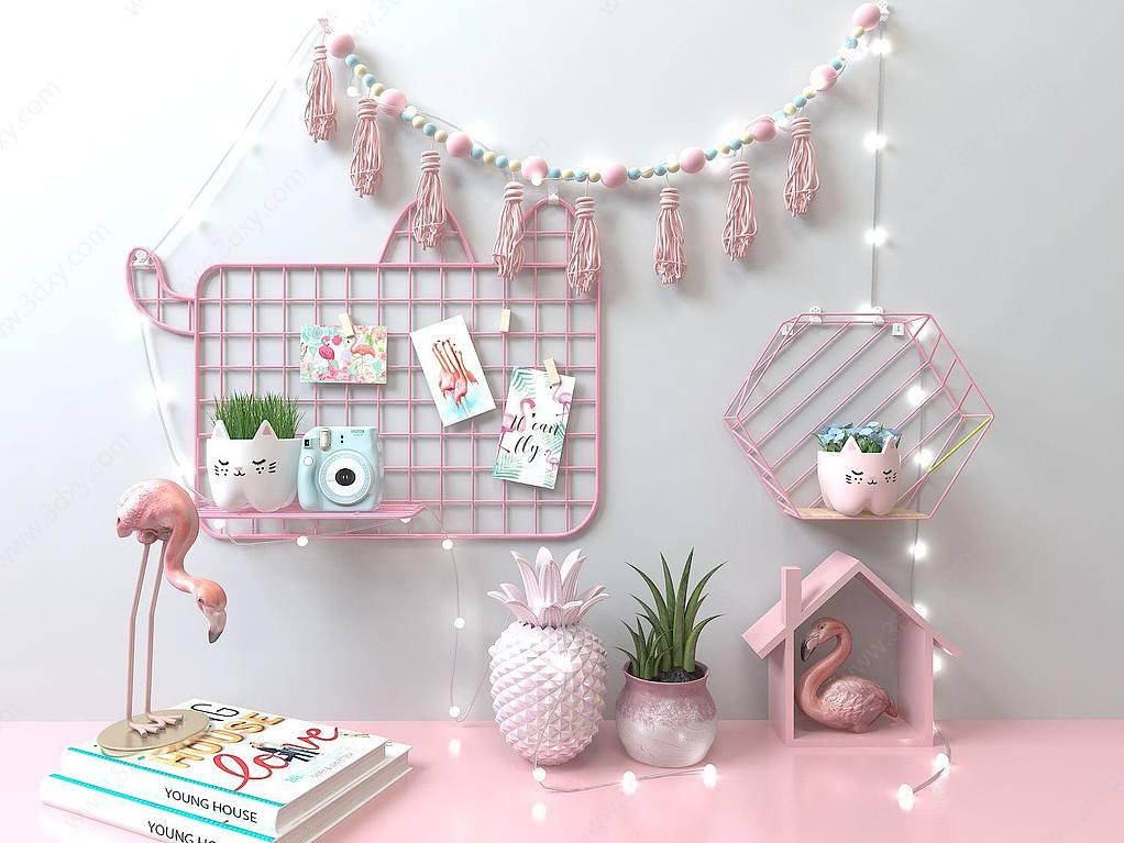 粉红置物架墙饰