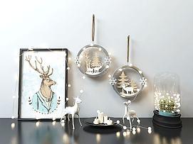 麋鹿圣诞鹿装蜡烛饰灯墙饰模型
