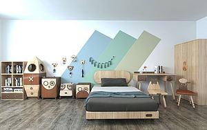 原木儿童房家具组合3d模型