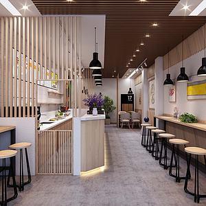 現代奶茶飲品店3d模型