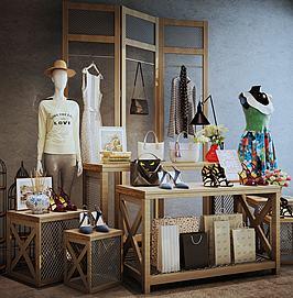 商场服装展示台木质组合模型