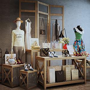 商场服装展示台木质组合3d模型