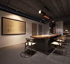 古式木质家具组合办公室模型3d模型