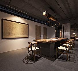 古式木质家具组合办公室模型