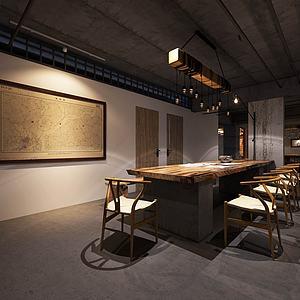 古式木质家具组合办公室3d模型