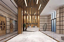 办公大楼大厅接待区模型