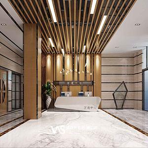 办公大楼大厅接待区3d模型