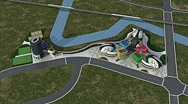 室外建筑体育综合体模型