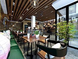 现代咖啡店模型