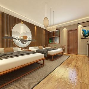 禅意卧室中式卧室模型