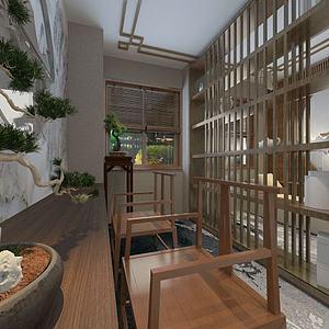 3d中式書房會客區模型