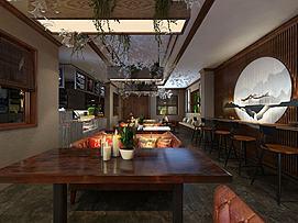 酒店宴会厅咖啡区早餐区模型