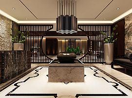 中式大堂酒店大厅模型