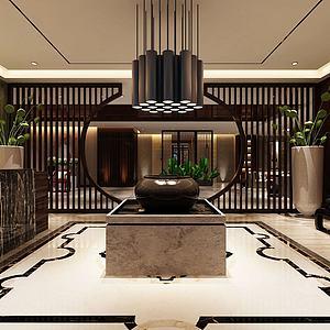 3d中式大堂酒店大厅模型