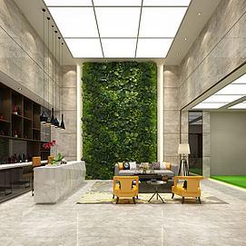 绿植墙中式酒柜服务台模型
