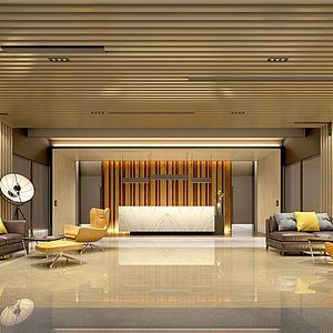 中式金色大廳前臺服務臺模型3d模型