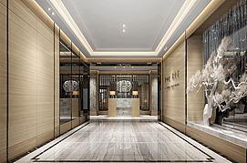 中式壁画公寓前台休闲场所模型