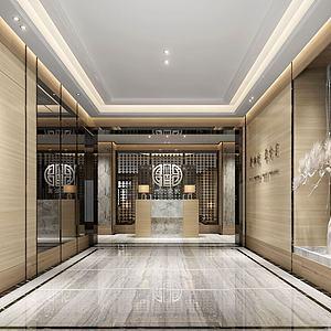 中式壁畫公寓前臺休閑場所模型3d模型