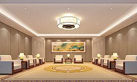 山水壁画会议厅接待室模型