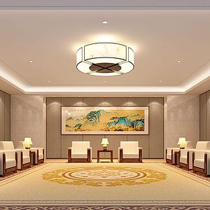 山水壁画会议厅接待室3d模型