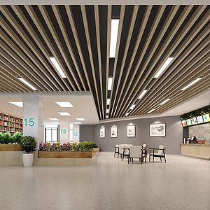 茶吧書館休閑區點餐臺3d模型