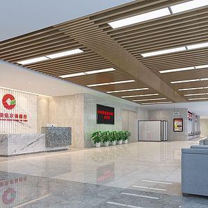 银行前台业务台接待厅3d模型